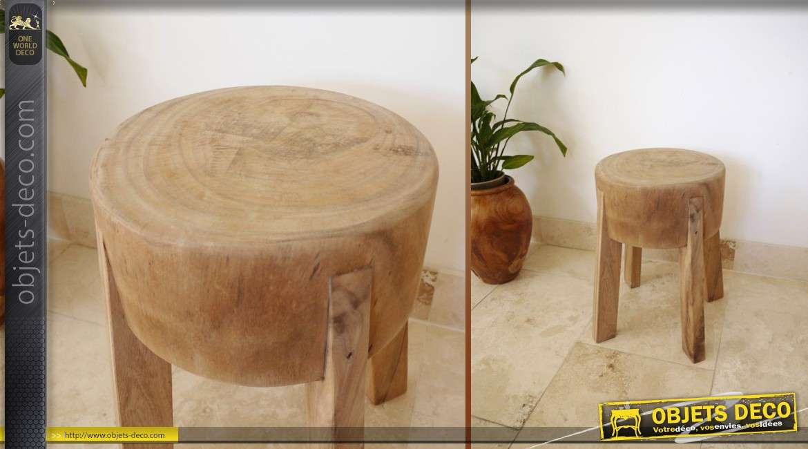 tabouret rond de style ancien et rustique en bois massif. Black Bedroom Furniture Sets. Home Design Ideas