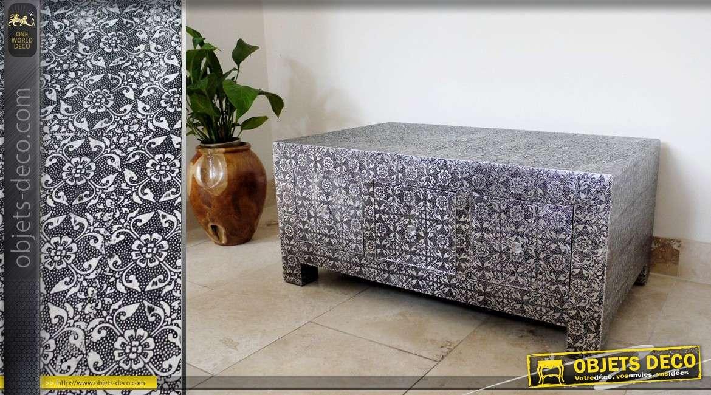 Table basse de style marocain en bois et m tal argent for Objet deco table basse