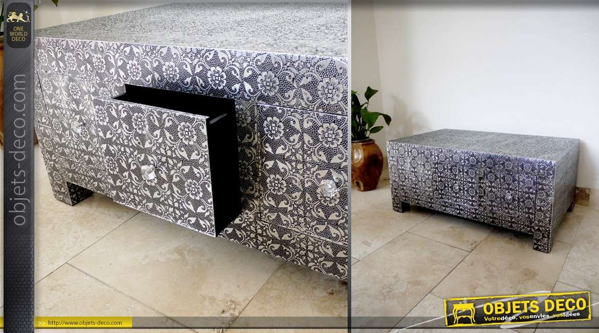 table basse de style marocain en bois et m tal argent. Black Bedroom Furniture Sets. Home Design Ideas