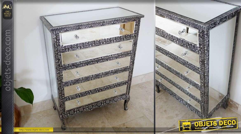 Commode à 5 tiroirs de style marocain avec habillage en miroir