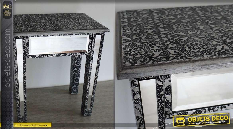 Table d'appoint de style marocain embossée noir et argent