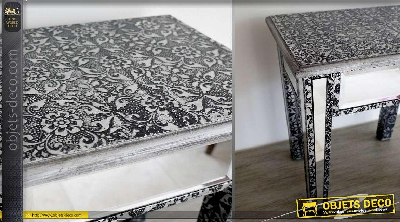 Table d'appoint en bois et miroir, ambiance marocaine finition noire et argentée, 44cm