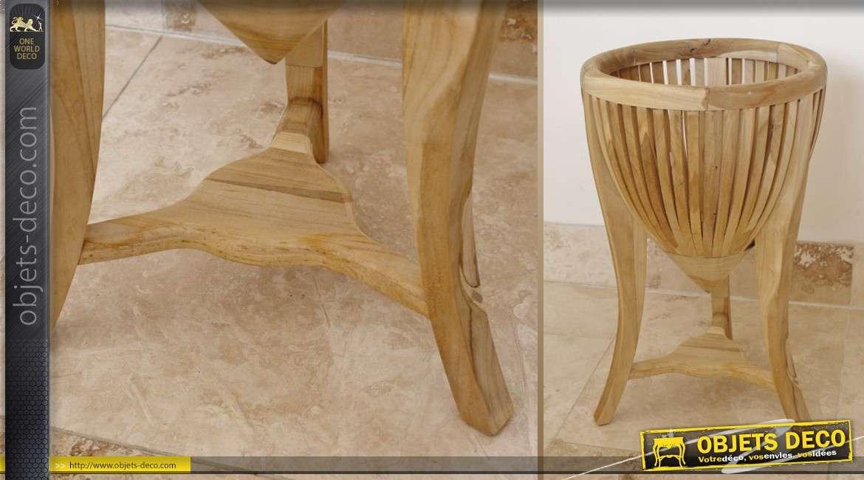 Support cache pot en bois de mindi de style exotique for Bois de mindi