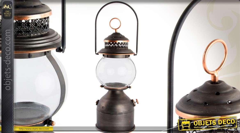 lanterne en m tal coloris anthracite et cuivre de style r tro. Black Bedroom Furniture Sets. Home Design Ideas