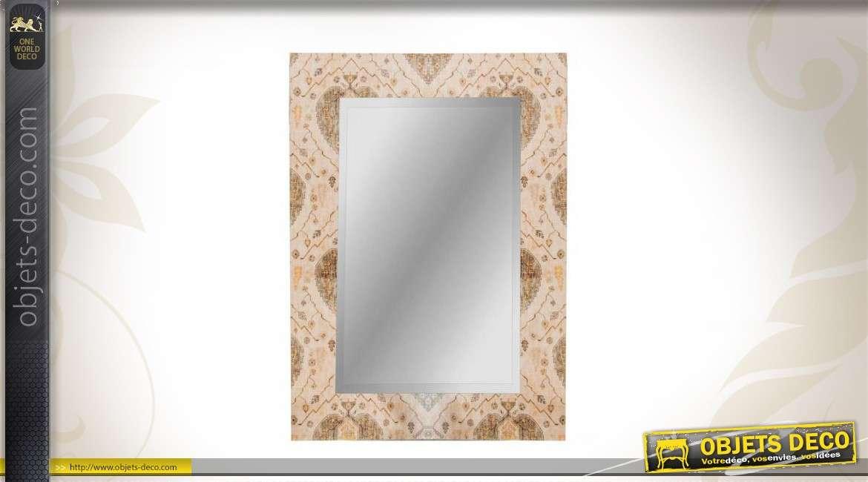 Miroir vintage cadre chantourn et motifs de fleurs 80 cm for Miroir ethnique