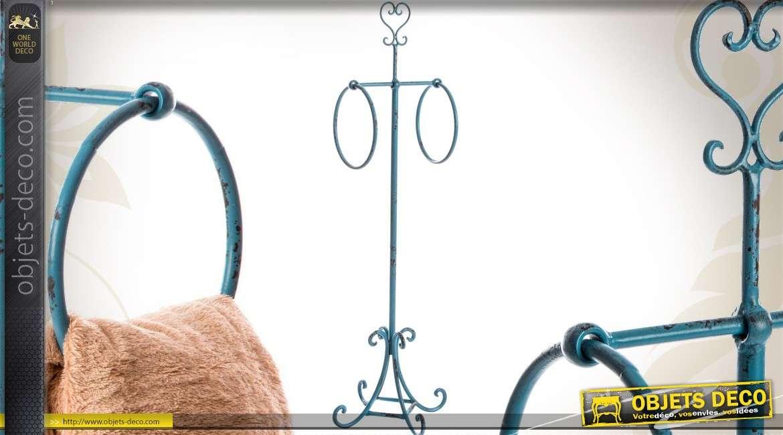 porte serviettes fer forg pour 2 serviettes coloris bleu ancien. Black Bedroom Furniture Sets. Home Design Ideas