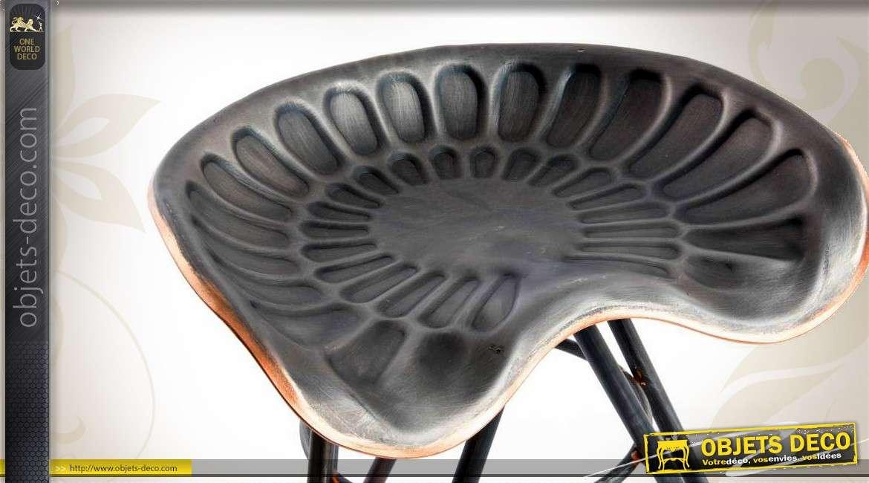 tabouret si ge de tracteur ancien coloris anthracite et cuivre. Black Bedroom Furniture Sets. Home Design Ideas
