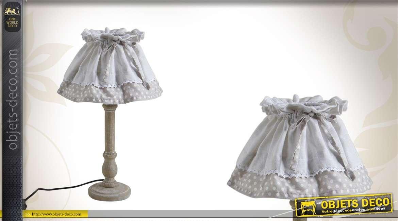 lampe de chevet en bois avec abat jour en tissu et noeud. Black Bedroom Furniture Sets. Home Design Ideas
