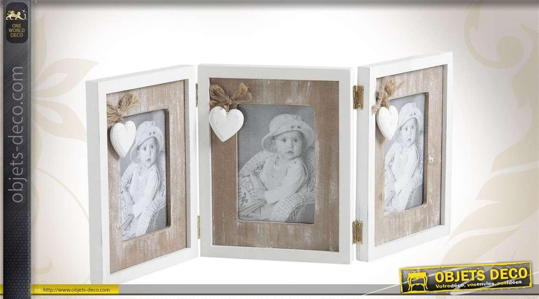 Triptyque pour photos en bois et verre