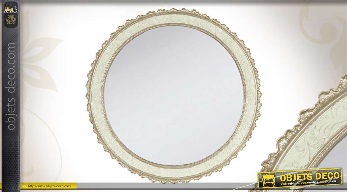 miroir rond style romantique 40 cm blanc et argent. Black Bedroom Furniture Sets. Home Design Ideas