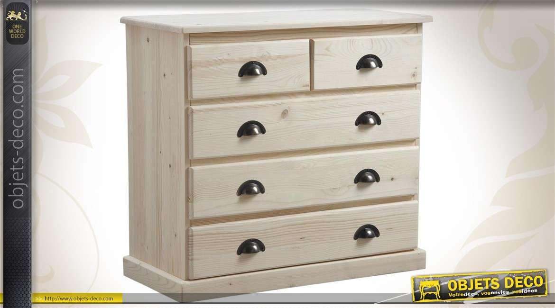Commode en bois avec 5 tiroirs prête à finir