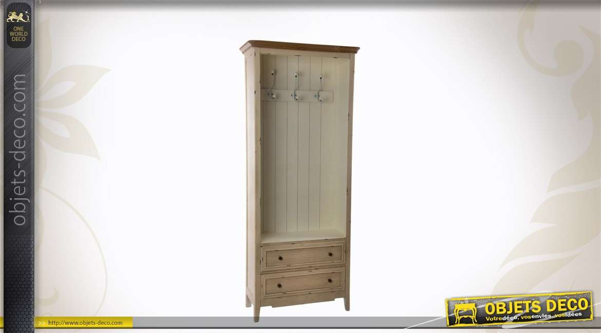 porte manteaux en bois avec 2 tiroirs. Black Bedroom Furniture Sets. Home Design Ideas