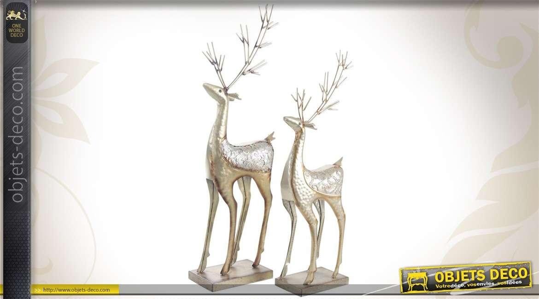 Duo de rennes de Noël en métal