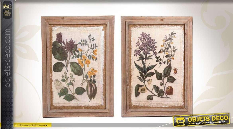 s rie de 2 tableaux en bois avec plantes. Black Bedroom Furniture Sets. Home Design Ideas