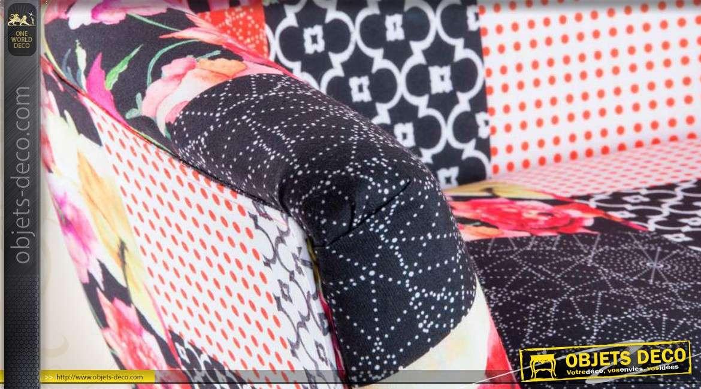chaise en bois et tissu patchwork. Black Bedroom Furniture Sets. Home Design Ideas