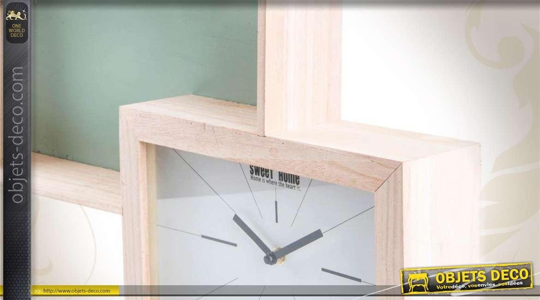 Horloge Murale En Bois Avec 2 Encadrements