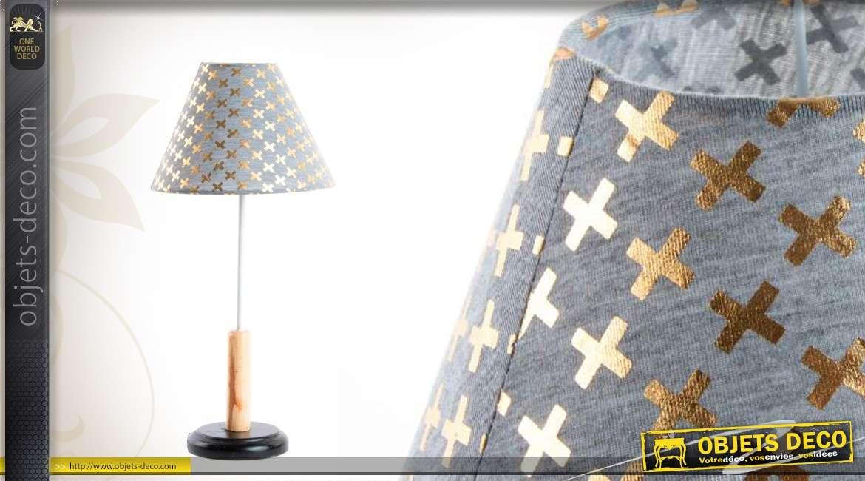 lampe de table en bois avec abat jour gris. Black Bedroom Furniture Sets. Home Design Ideas