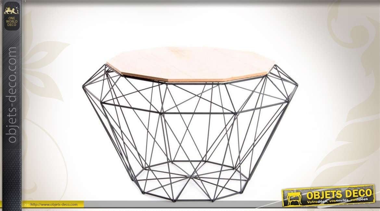 table d 39 appoint g om trique en m tal et en bois. Black Bedroom Furniture Sets. Home Design Ideas