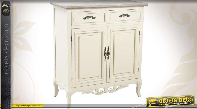 Buffet en bois coloris blanc à 2 portes