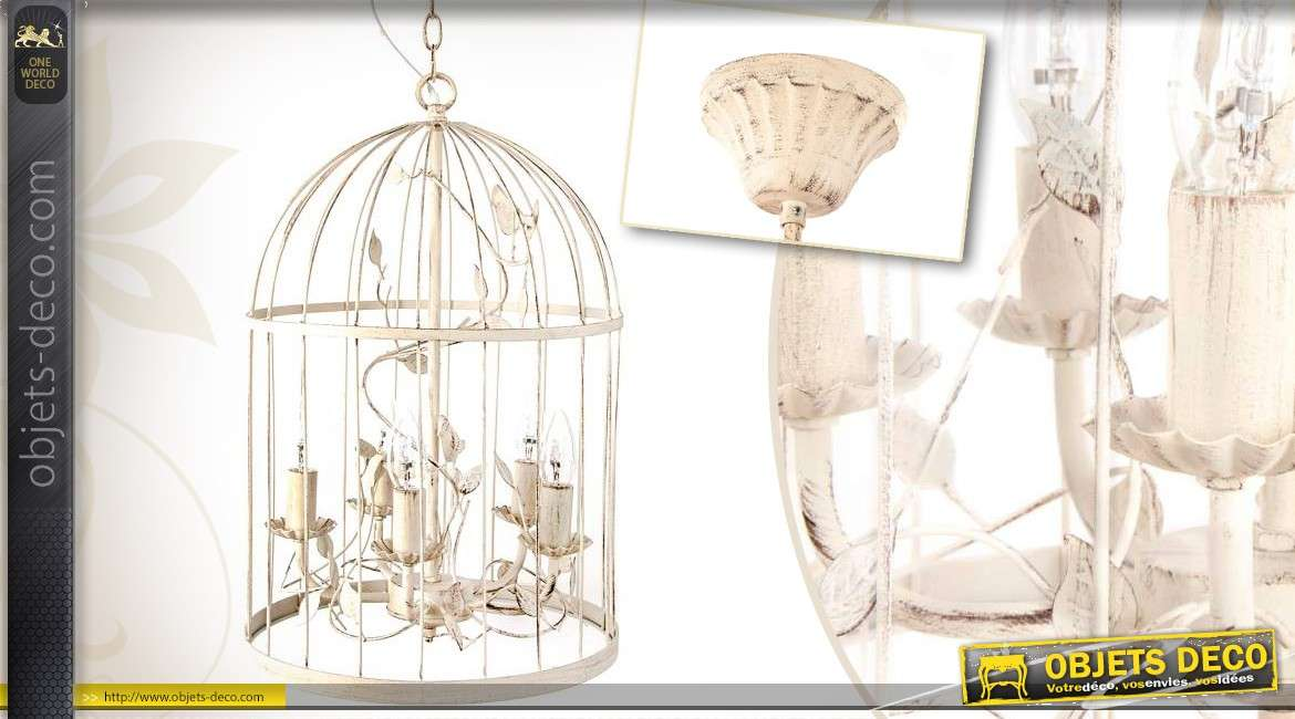 lustre cage oiseaux coloris cr me 6 feux 35 cm. Black Bedroom Furniture Sets. Home Design Ideas