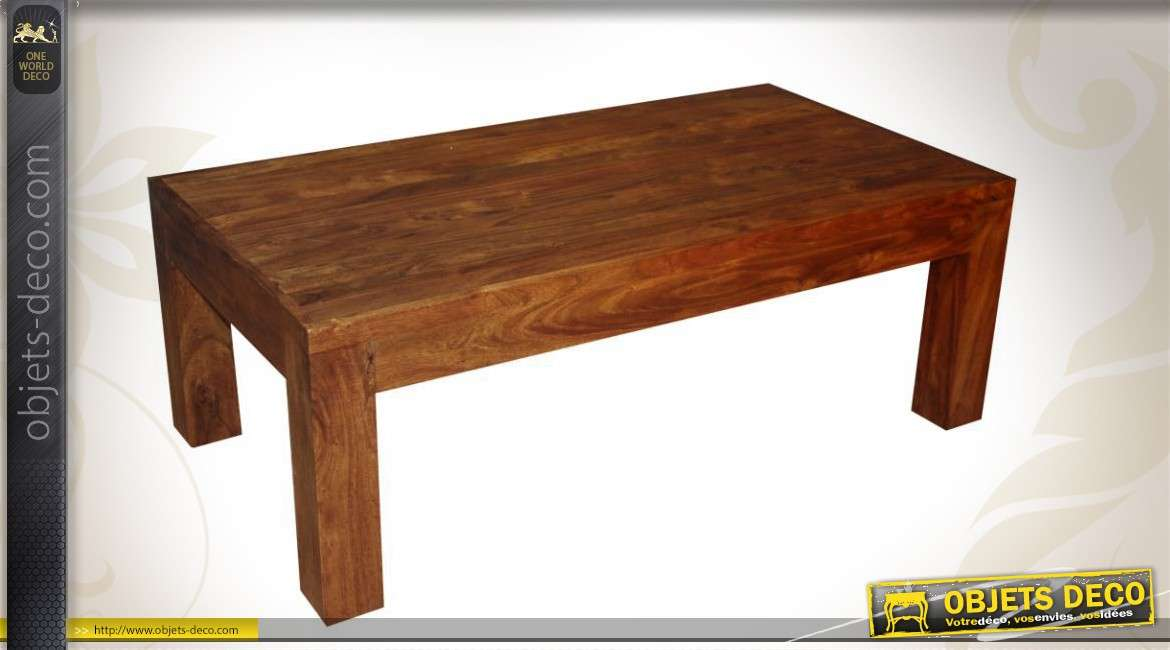 Table basse en acacia massif de style rustique for Table basse acacia massif