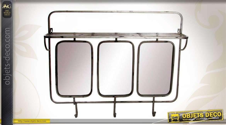 miroir de vestiaire en triptyque m tal coloris gr ge. Black Bedroom Furniture Sets. Home Design Ideas