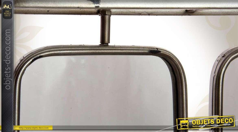Miroir de vestiaire en triptyque m tal coloris gr ge for Miroir fer forge rectangulaire