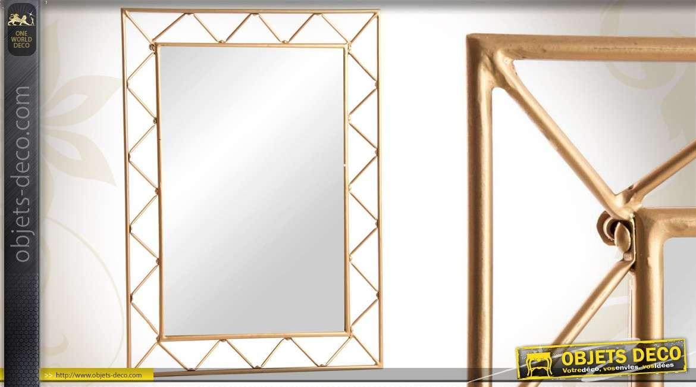 Miroir mural de style oriental finition argent e for Miroir mural metal