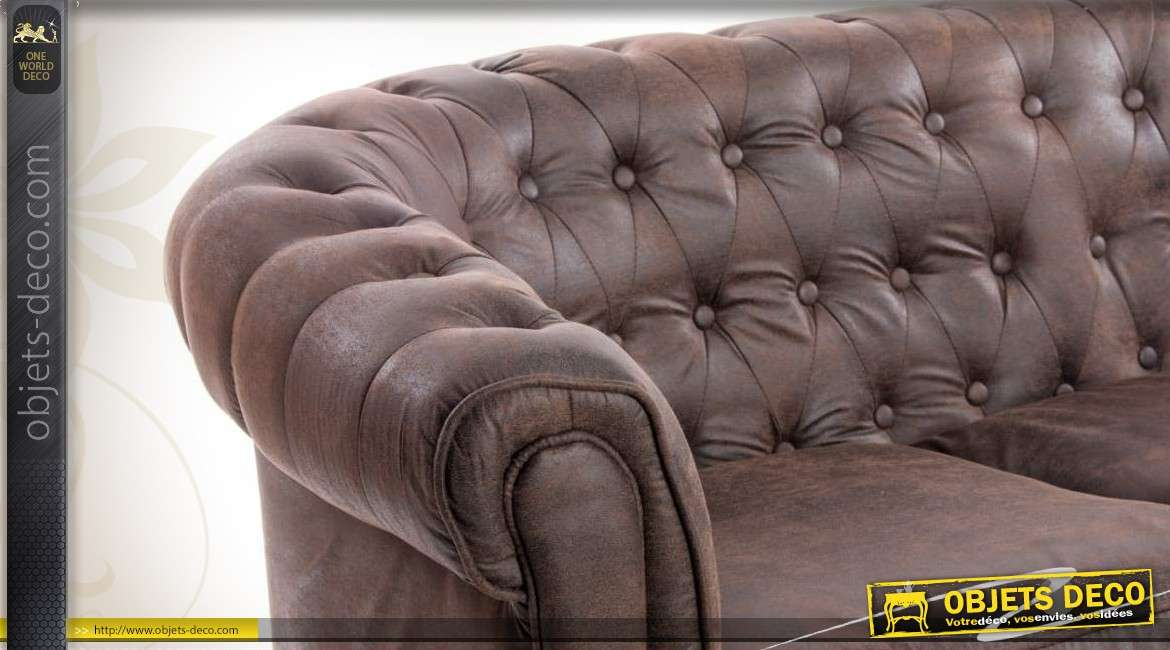 Canapé marron style Chesterfield 3 places en cuir synthétique