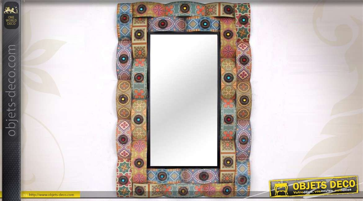 miroir mural d coratif multicolore de style indien en m tal. Black Bedroom Furniture Sets. Home Design Ideas