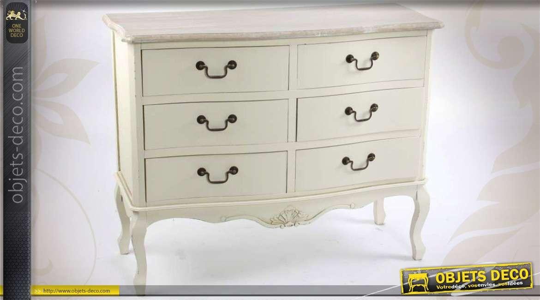commode de style shabby chic six tiroirs coloris cr me. Black Bedroom Furniture Sets. Home Design Ideas
