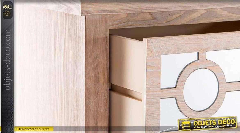chiffonnier en bois 4 tiroirs finition miroirs. Black Bedroom Furniture Sets. Home Design Ideas