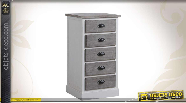 Chiffonnier en bois à 5 tiroirs coloris blanc et gris