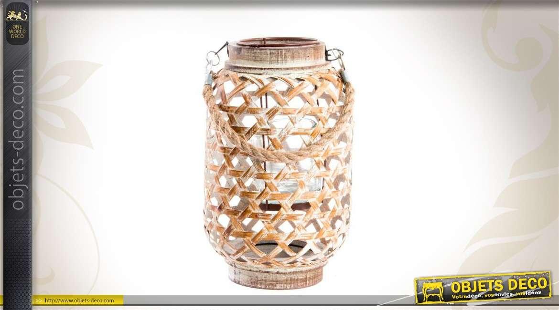 lanterne en bois avec photophore. Black Bedroom Furniture Sets. Home Design Ideas