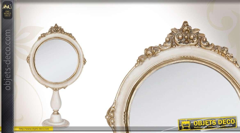 Miroir de coiffeuse en m tal de style romantique et fleuri for Miroir blanc romantique