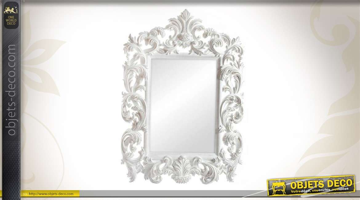Grand miroir baroque de dressing 180 cm r tro blanc antique for Miroir blanc