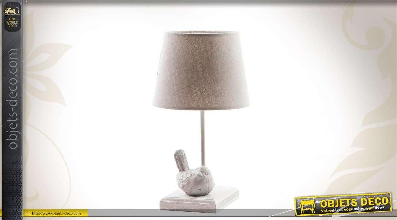 Lampe de chevet en bois et m tal coloris gr ge - Lampe de chevet metal ...