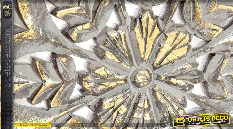 D coration murale ronde en bois patine dor e for Decoration murale doree