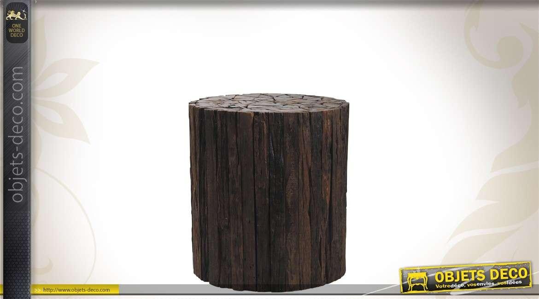 Tabouret en bois recyclé coloris foncé