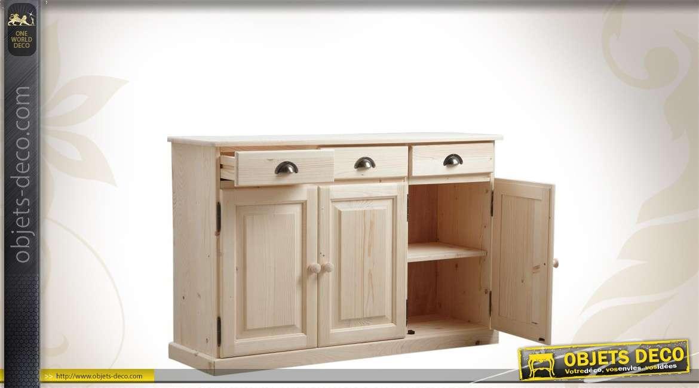 Enfilade en bois avec 3 portes et 3 tiroirs à terminer