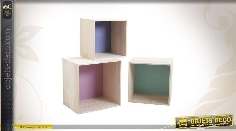 Série de 3 étagères murales en bois
