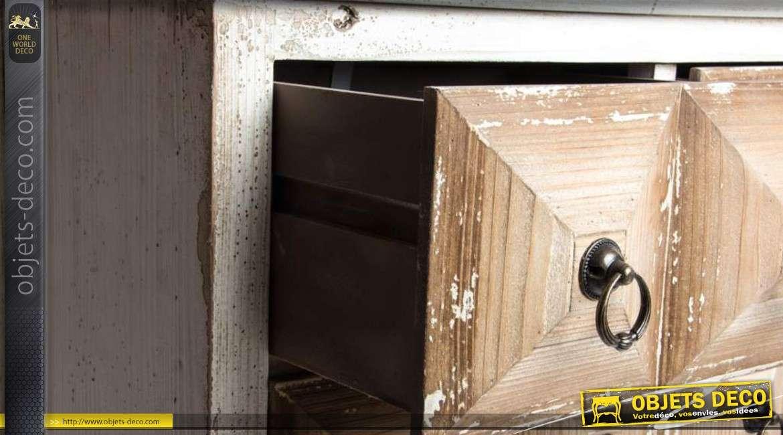 console en bois 3 tiroirs coloris blanc vieilli. Black Bedroom Furniture Sets. Home Design Ideas