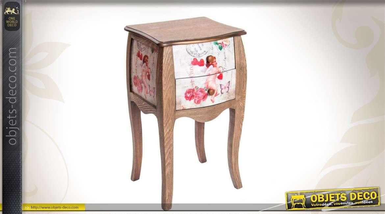 table de chevet en bois 2 tiroirs. Black Bedroom Furniture Sets. Home Design Ideas
