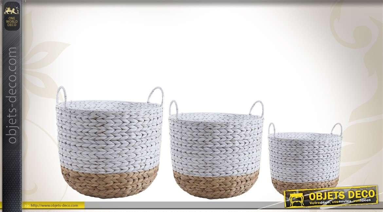 Série de 3 cache-pots en jacinthe tressée