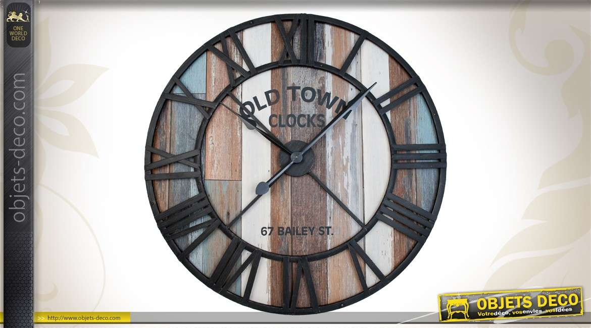 grande horloge murale ronde en m tal 91 cm. Black Bedroom Furniture Sets. Home Design Ideas