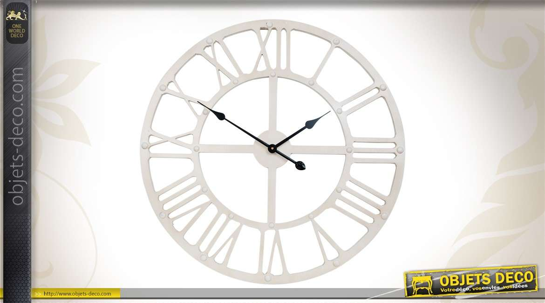horloge murale 70 cm coloris blanc