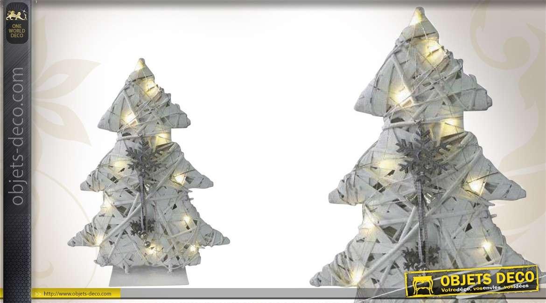 Sapin de Noël lumineux en bois coloris blanc
