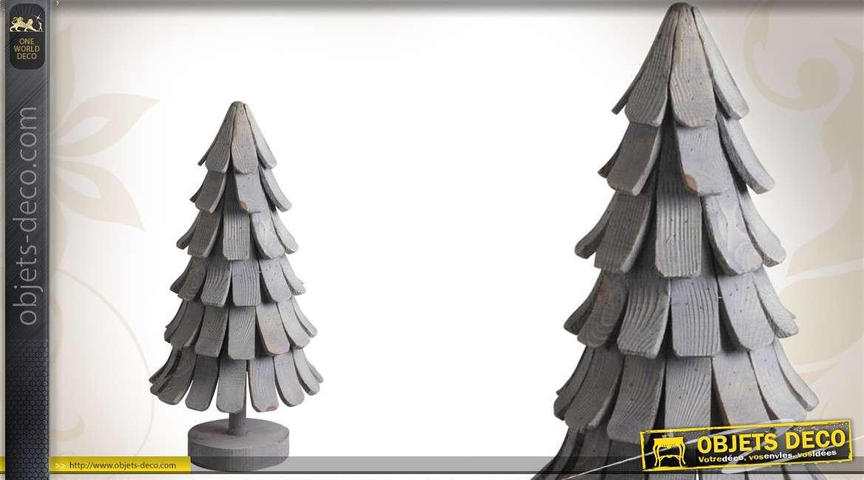 Sapin de Noël en bois stylisé gris