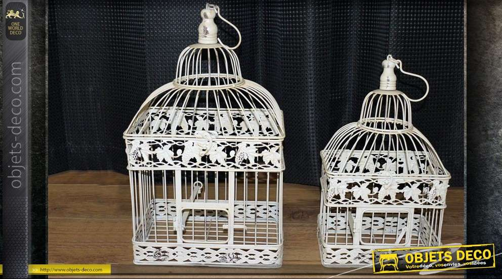 cages oiseaux d co beige antique. Black Bedroom Furniture Sets. Home Design Ideas