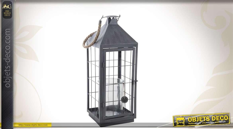 Lanterne en métal gris vieilli avec anse en cordage 63 cm